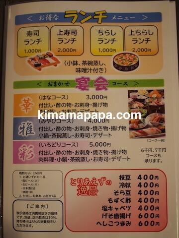 石川、粟津の大西寿司のランチメニュー