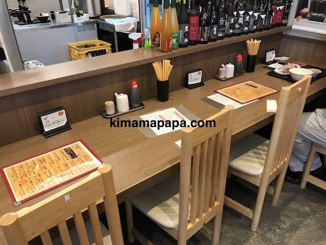 金沢、魚がし食堂のカウンター席