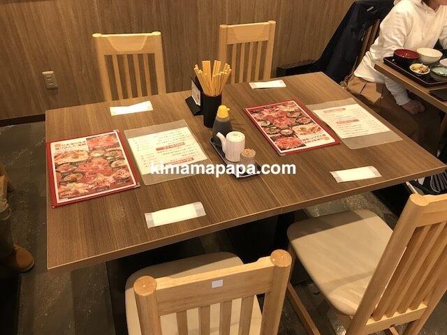 金沢、魚がし食堂のテーブル席