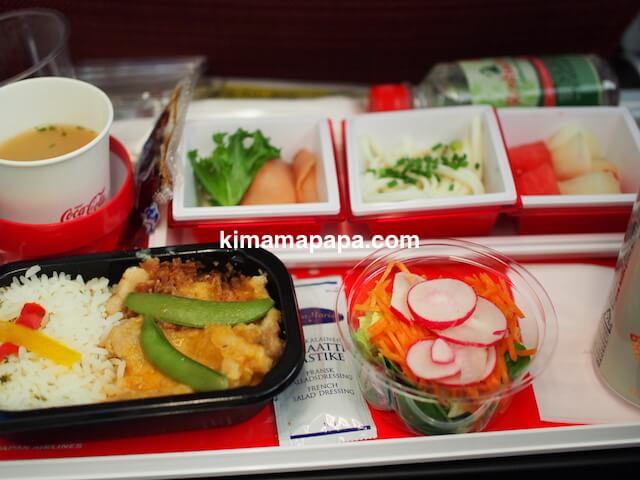 ヘルシンキから成田、JAL機内食