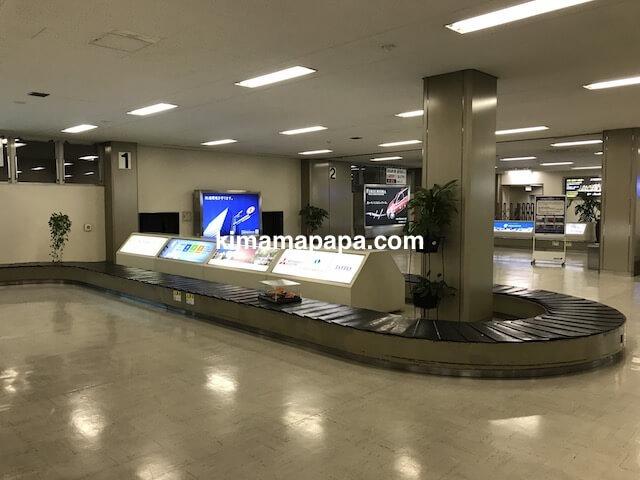 小松空港、手荷物受取場のターンテーブル