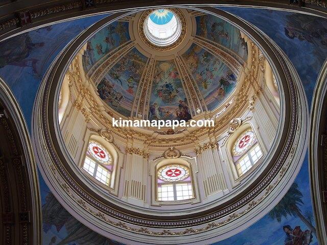 マルタ、勝利の女神教会のドーム天井