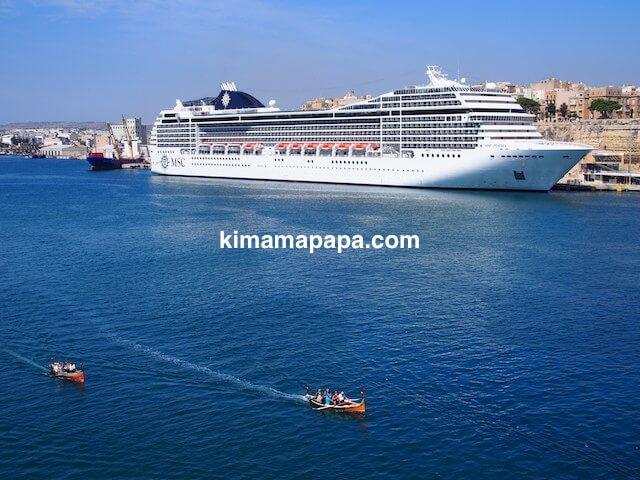 マルタ、セングレアから見た豪華客船