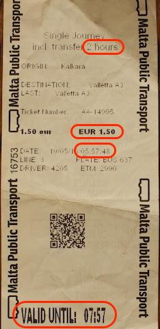 マルタ、2時間バスチケット