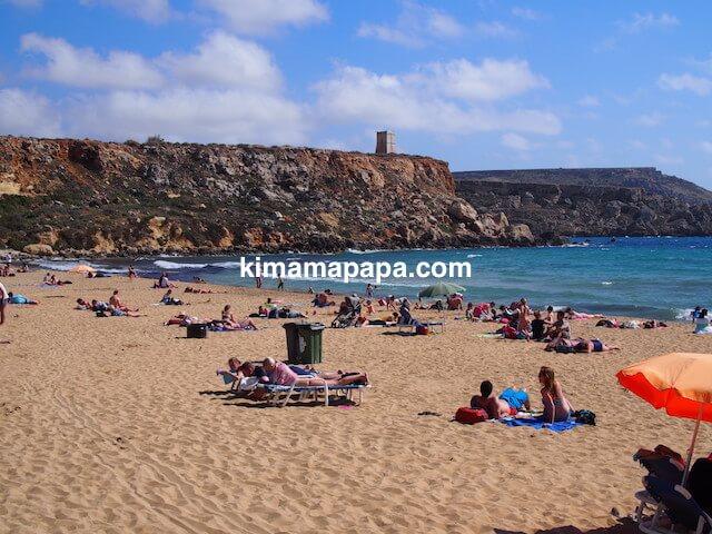 マルタ島、ゴールデン・ベイのビーチ