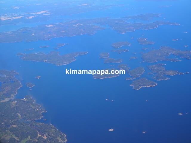 フィンエアーから見たフィンランドの島々