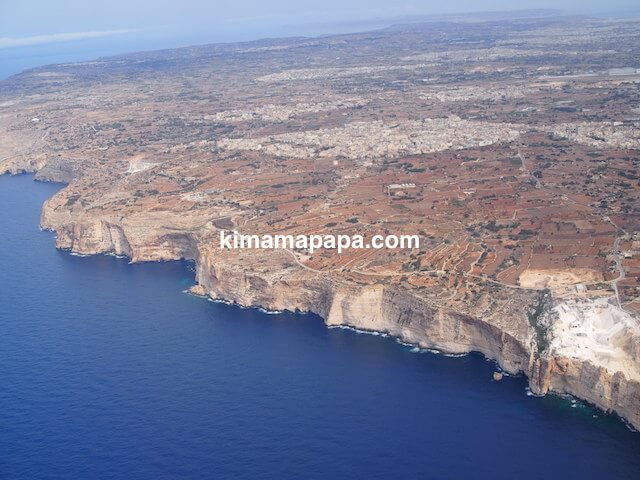フィンエアーから見たマルタ島南側エリア
