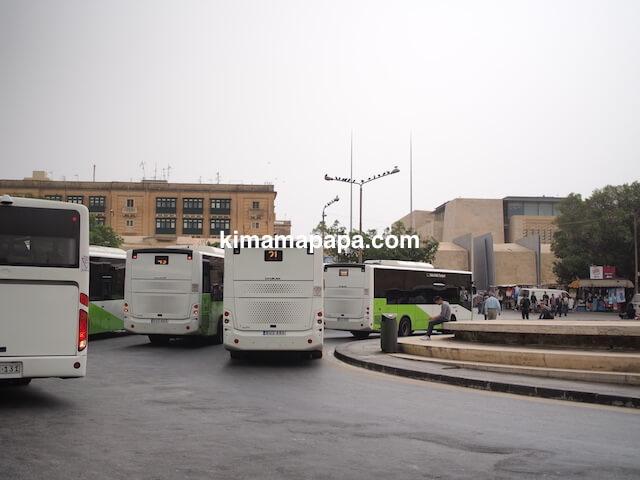 マルタ、ヴァレッタのバス降り場