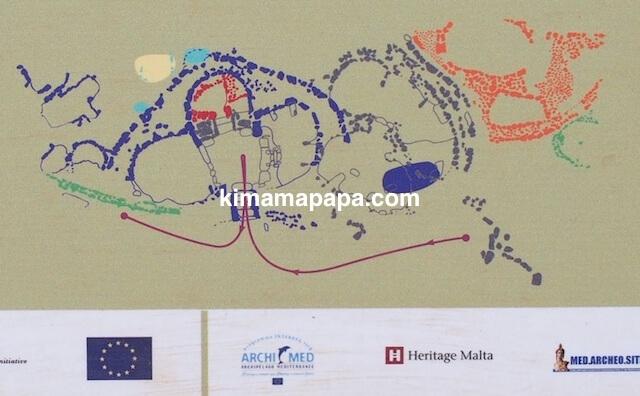 マルタ、スコルバ神殿の地図