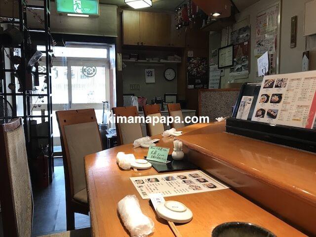 福井県三国町、福寿しのカウンター