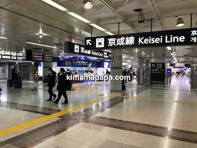 成田第1ターミナル、地下1階の京成線