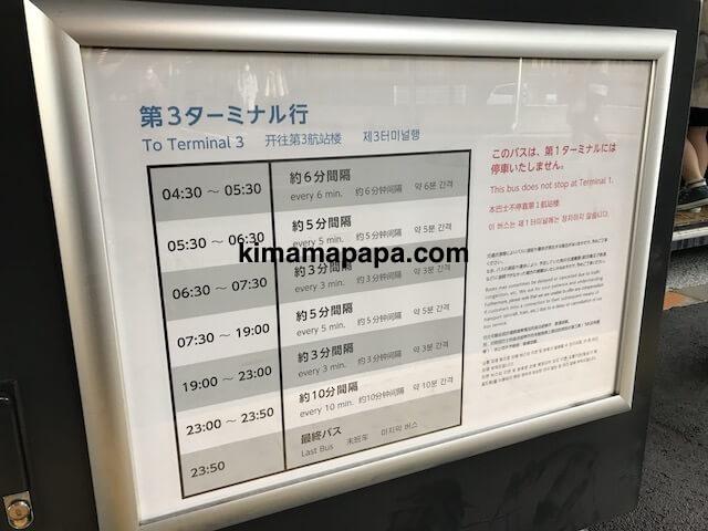 成田第2ターミナル、連絡バス時刻表