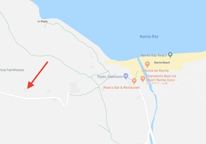ゴゾ島、カリプソの洞窟地図