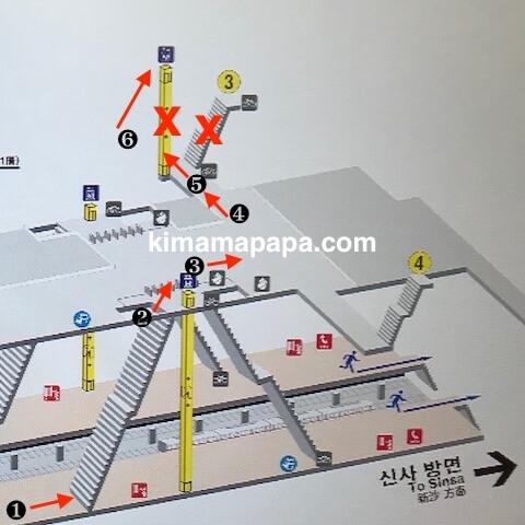 ソウルのアックジョン駅、ホームから3番出口