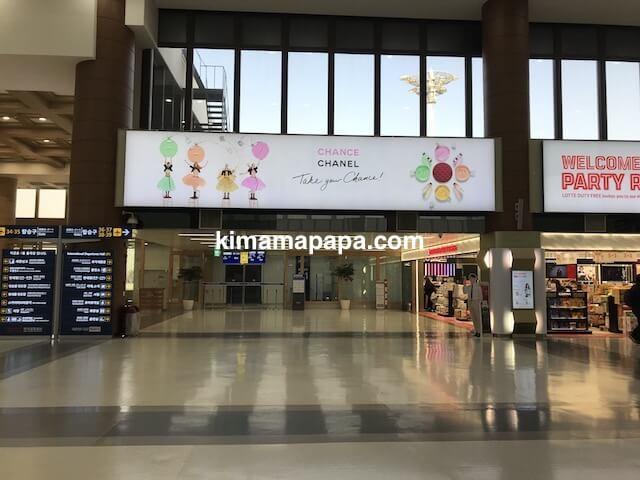 ソウル金浦空港、出国手続きを済ませた後の3階出発フロア