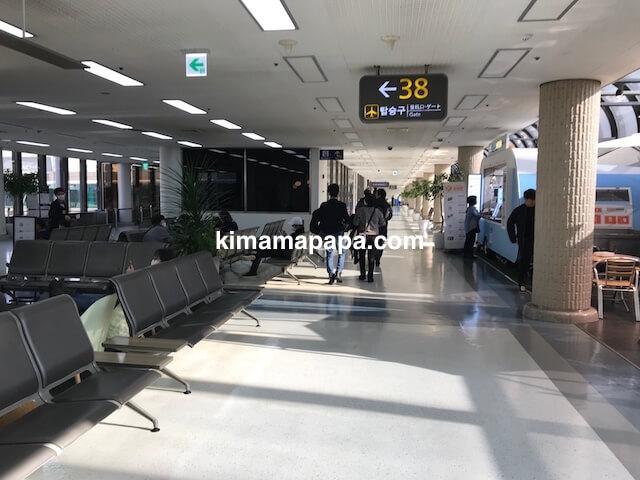 ソウル金浦空港、3階出発フロアの38ゲート