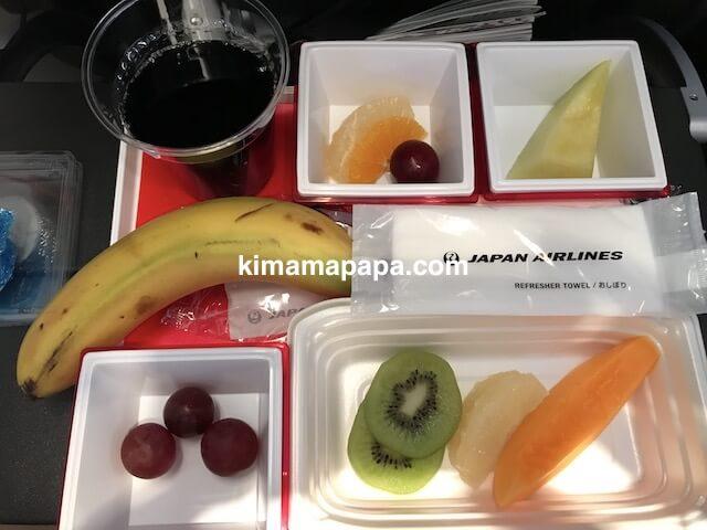 ソウル金浦空港から羽田空港、フルーツミール