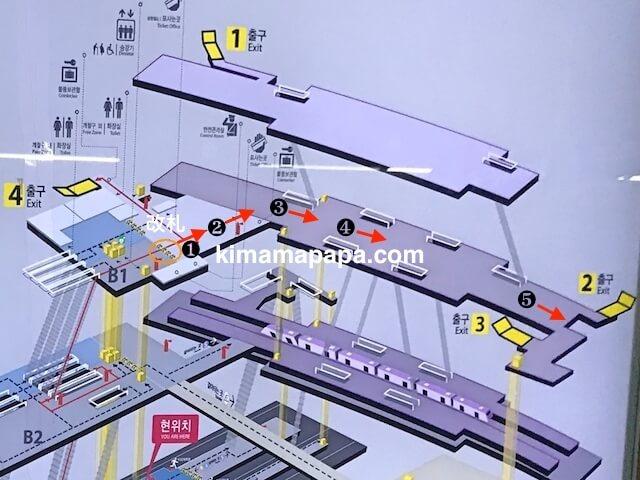 ソウル金浦空港、空港鉄道改札からターミナルまでの道順
