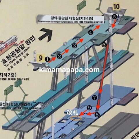 ソウル孔徳駅、AREXへの道順