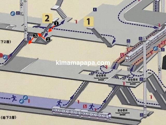 ソウル孔徳駅、2番出口への道順