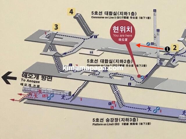 ソウル孔徳駅、3番、4番出口への道順