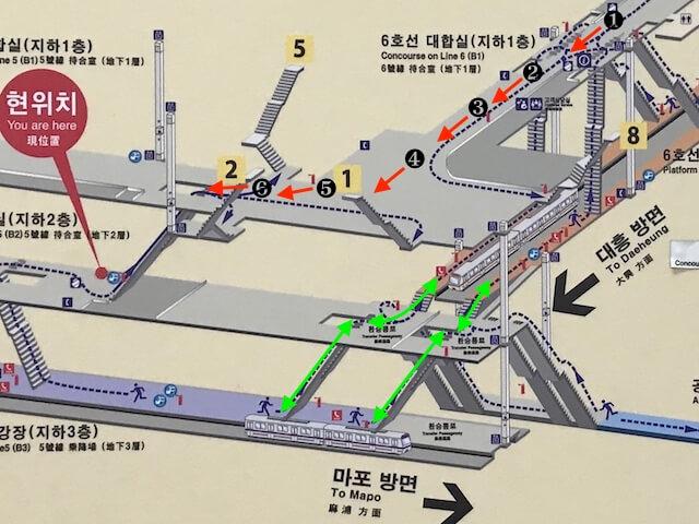 ソウル孔徳駅、6号線改札から5号線への道順