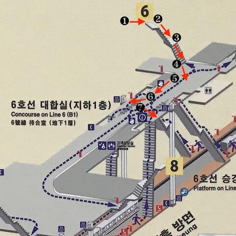 ソウル孔徳駅、6番出口から6号線への道順