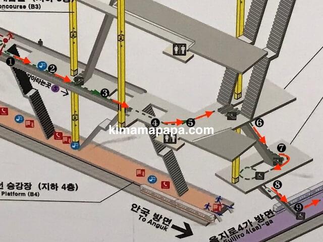 ソウルのチョンノサムガ駅、3号線から5号線
