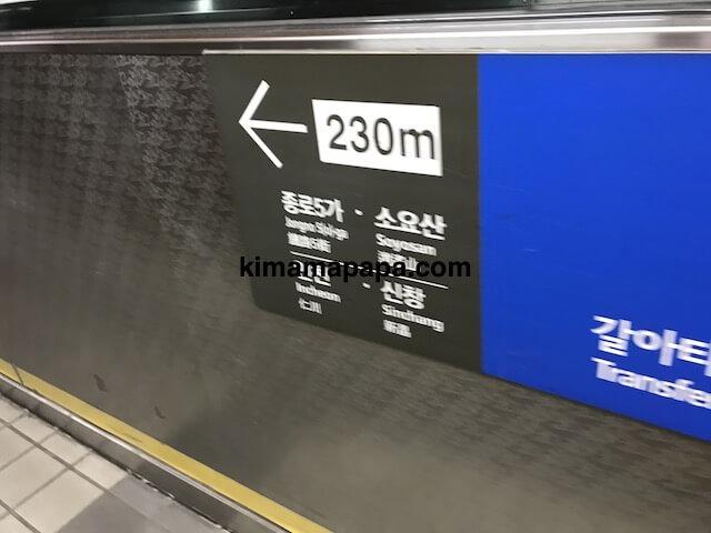 ソウルのチョンノサムガ駅、3号線コンコースの1号線方面