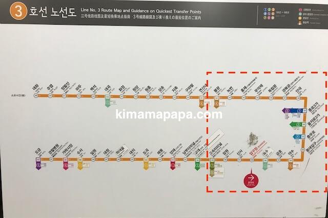 ソウルの3号線、路線図