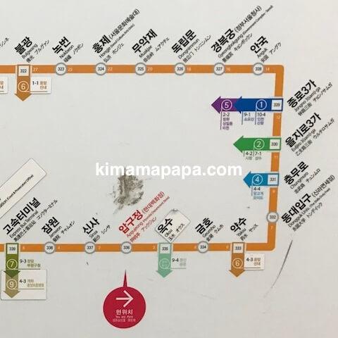 ソウルの3号線、路線図(拡大)
