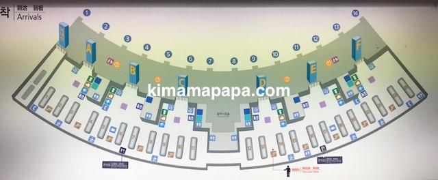 ソウル、仁川(インチョン)空港の手荷物受取所の地図