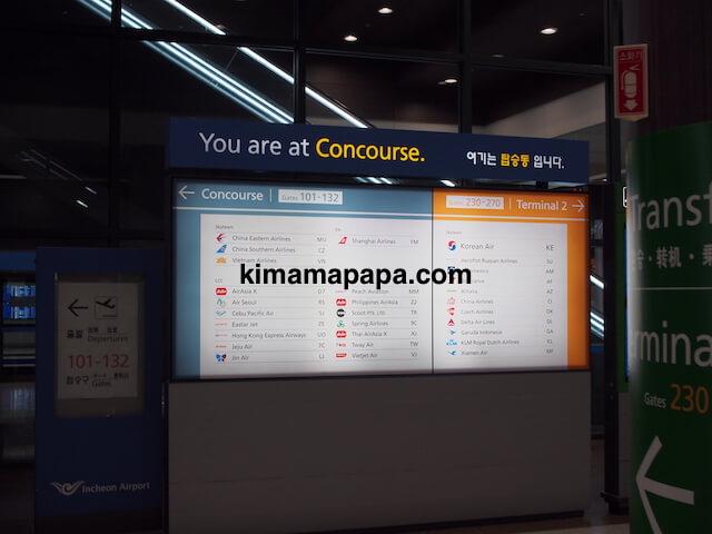 ソウル、仁川(インチョン)空港のコンコースの看板