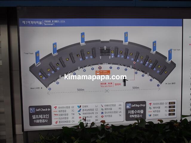 ソウル、仁川(インチョン)空港の出発フロアー地図