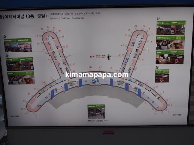 ソウル、仁川(インチョン)空港の第1旅客ターミナルの地図