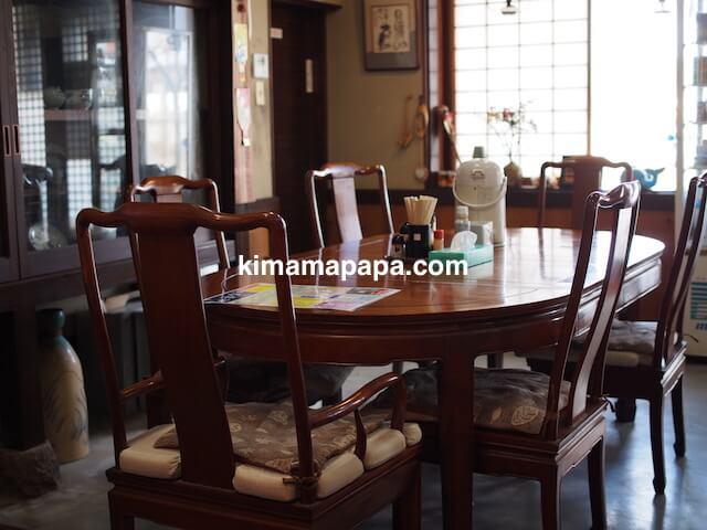 氷見、川村食堂のテーブル